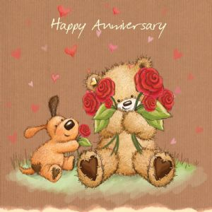 Happy Anniversary With Hearts and Flowers